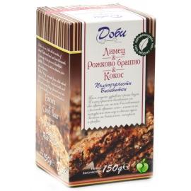 Пълнозърнести бисквити с лимец, рожково брашно и кокос 150гр